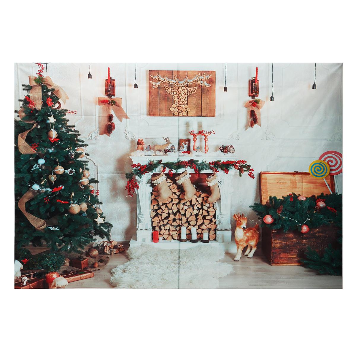 8x6FT Рождественская елка Камин Белое Одеяло Фон Фотографии Студия Опора Фон
