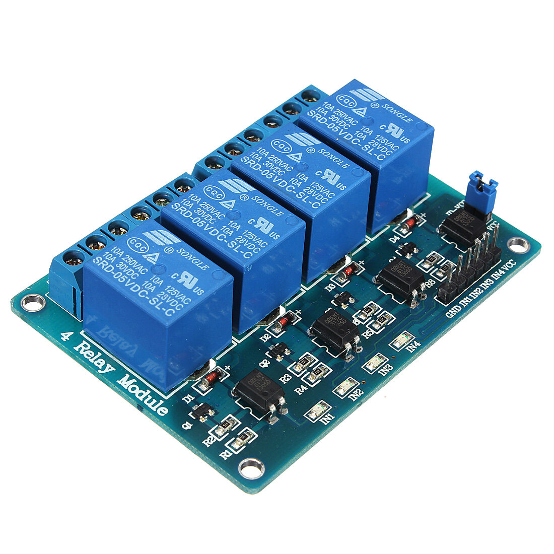 Geekcreit® 5V 4 Channel Relay Module For Arduino PIC ARM DSP AVR MSP430 Blue
