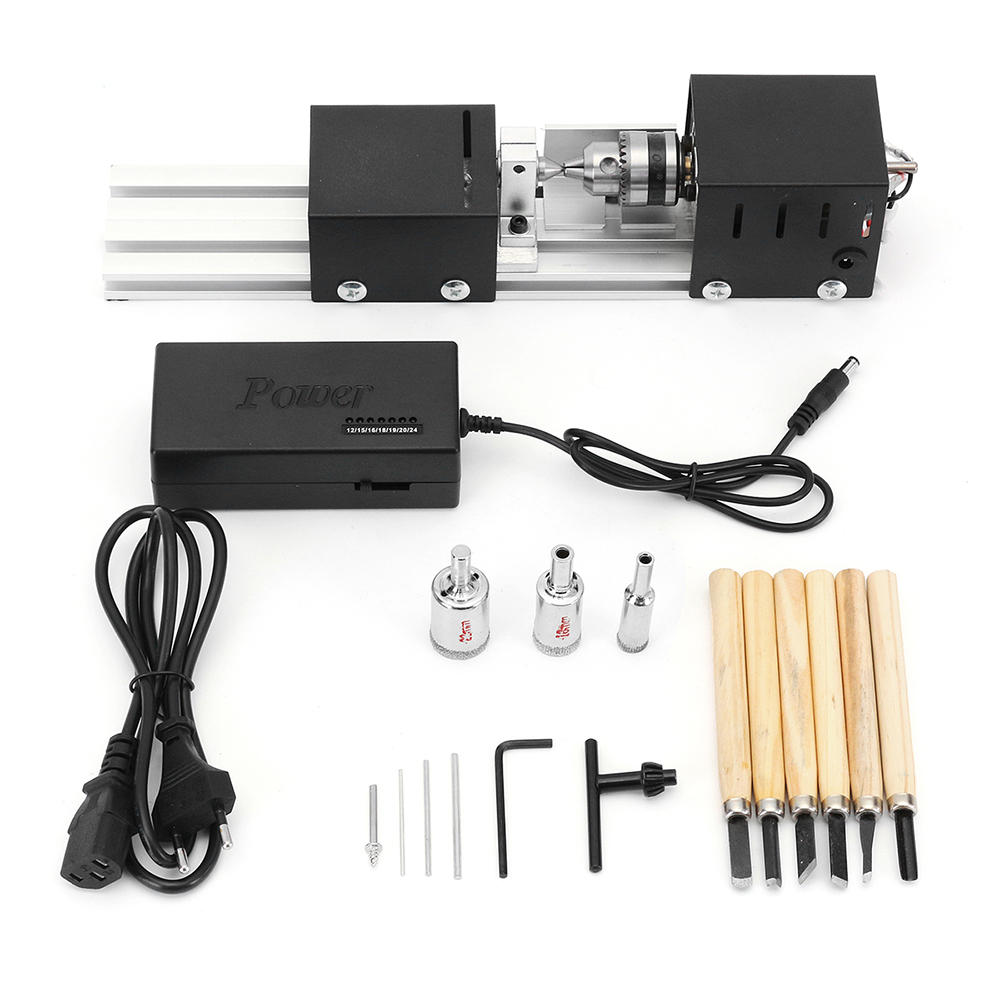 Drillpro Mini Lathe Beads Machine Wood Working DIY Lathe Set with DC 24V Power Adapter Metal Cover