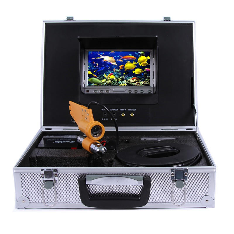 CR110-7 Under Water Fishing Camera System with 7 inch LCD Monitor 12pcs White LED Single Rod Camera