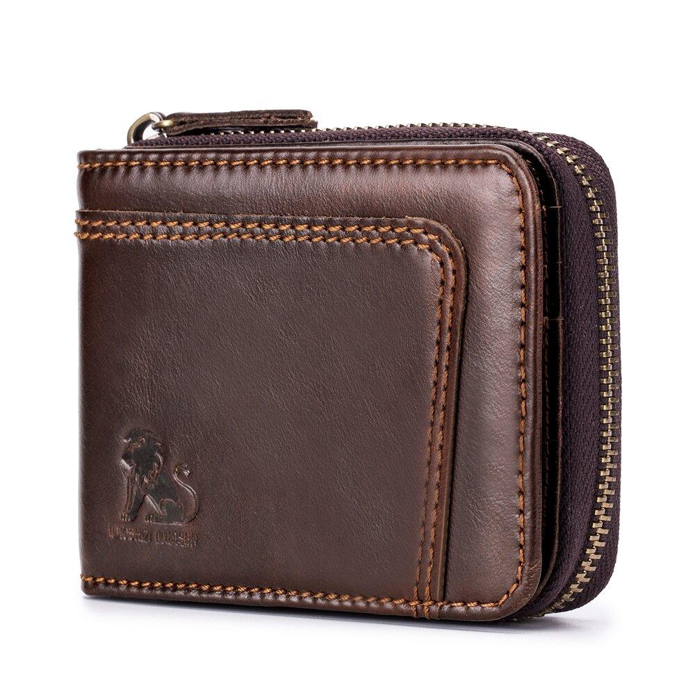RFID Blocking Secure Wallet Vintage Genuine Leather 13 Card Slots Money Bag For Men
