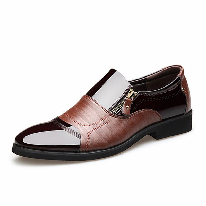 Chaussures habillées confortables en cuir à bout pointu pour hommes