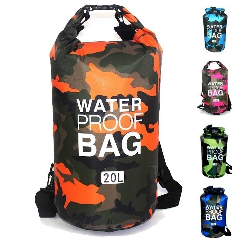 Waterproof Lightweight Bag Camouflage Dry Bag Camo Compression Sack 2L/5L/10L/15L/20L For Boating,Camping,Kayaking,Beach,Rafting,Hiking And Fishing.