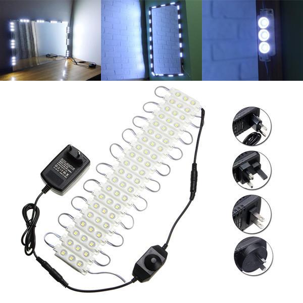 3M SMD5050 Waterproof White LED Module Strip Light Kit Mirror Signage Makeup Lamp + Adapter DC12V