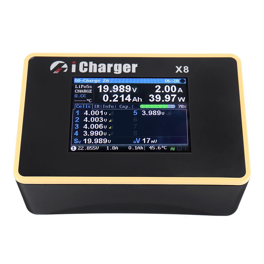iCharger X8 1100W 30A تيار منتظم LCD شاشة ذكي البطارية Balance Charger Discharger for 1-8s LiPo / Lilo / LiFe / LiHV الب