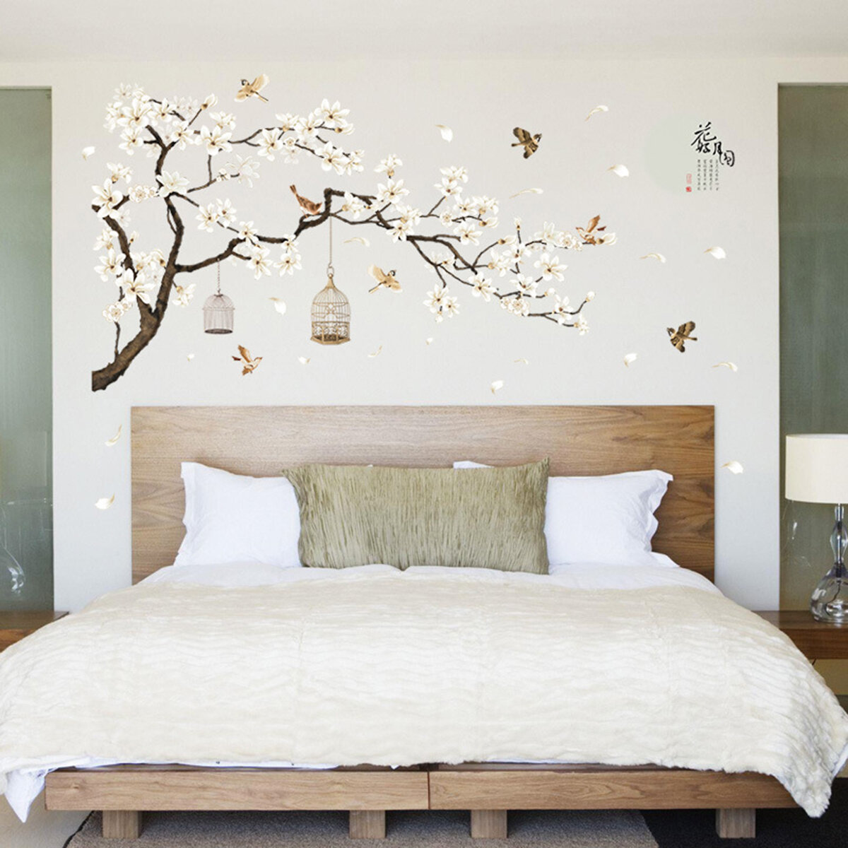 White Blossom Tree Branch Wall Sticker Cherry Decals Mural Decor
