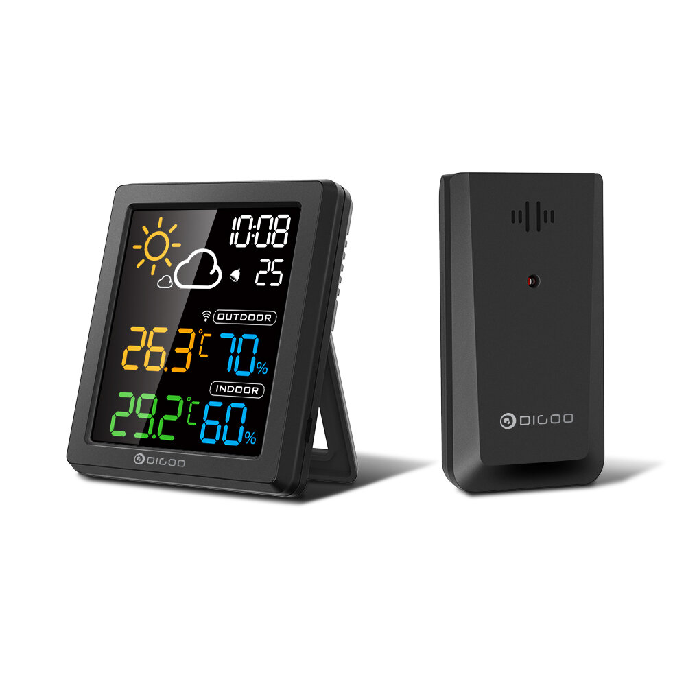 DIGOO DG_8647 Mini HD Color Screen LCD Weather Station Alarm Clock Smart Hygrometer Thermometer Snooze Dual Desktop Clock  Black