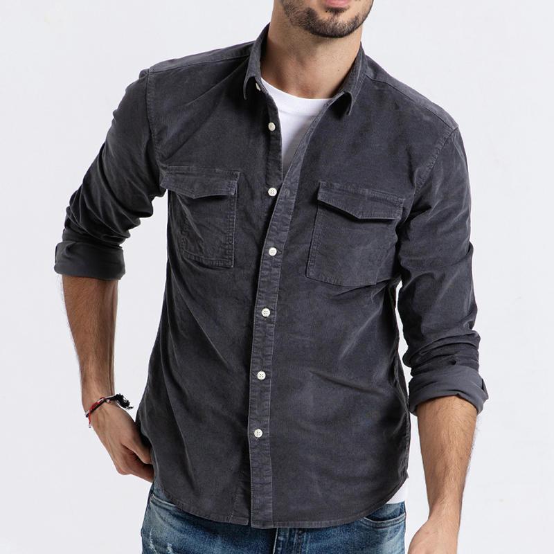Erkek Göğüs Cepleri Kadife Casual Workwear Gömlek