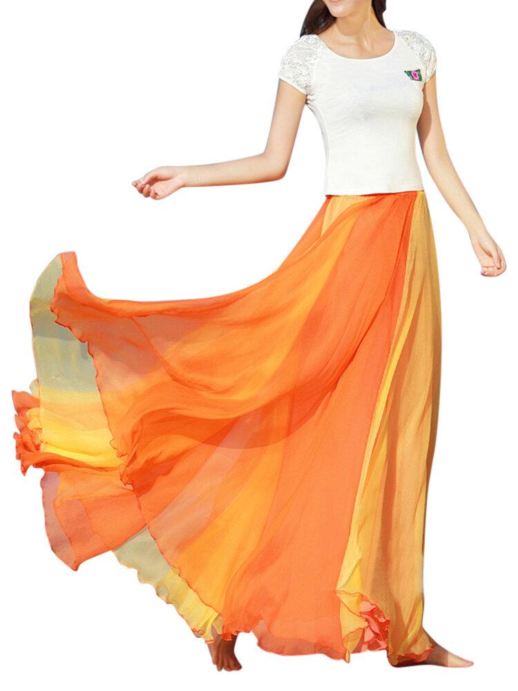 Falda maxi plisada de la cintura elástica del remiendo del color del contraste de la gasa bohemia para Mujer