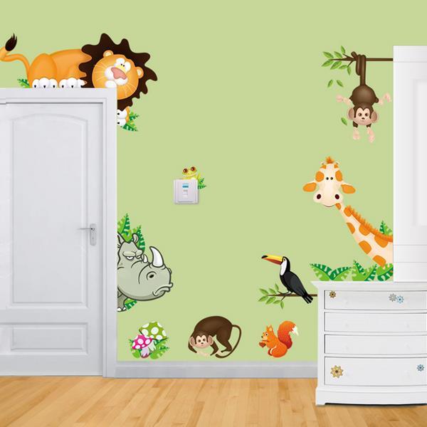 Cartoon Animal Wall Sticker Living Room Heminredning Creative Decal DIY Väggmålning Väggkonst