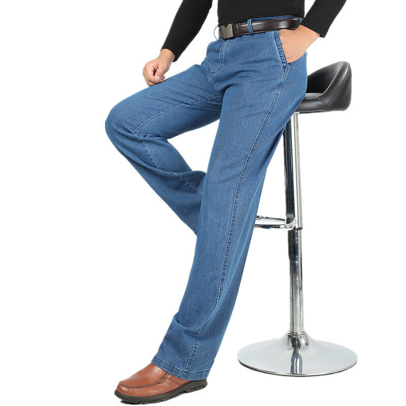 Summer Thin Business Casual Straight Leg Elastic Jeans фото