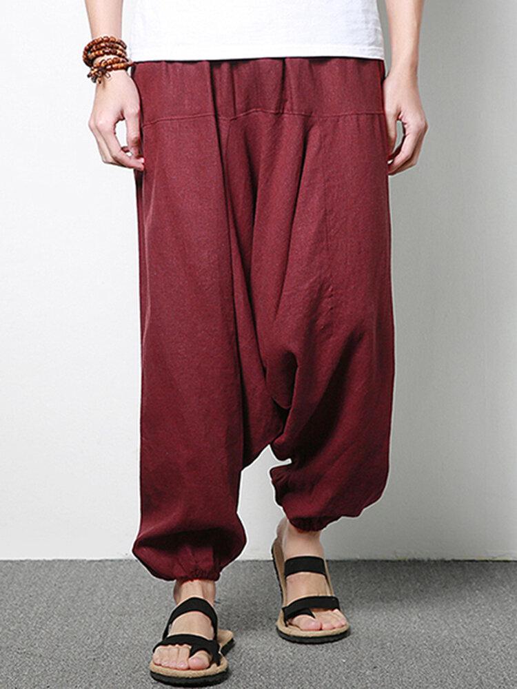 Harém de linho de algodão para homens Calças Calças largas folgadas casuais Moda Calças de pernas largas