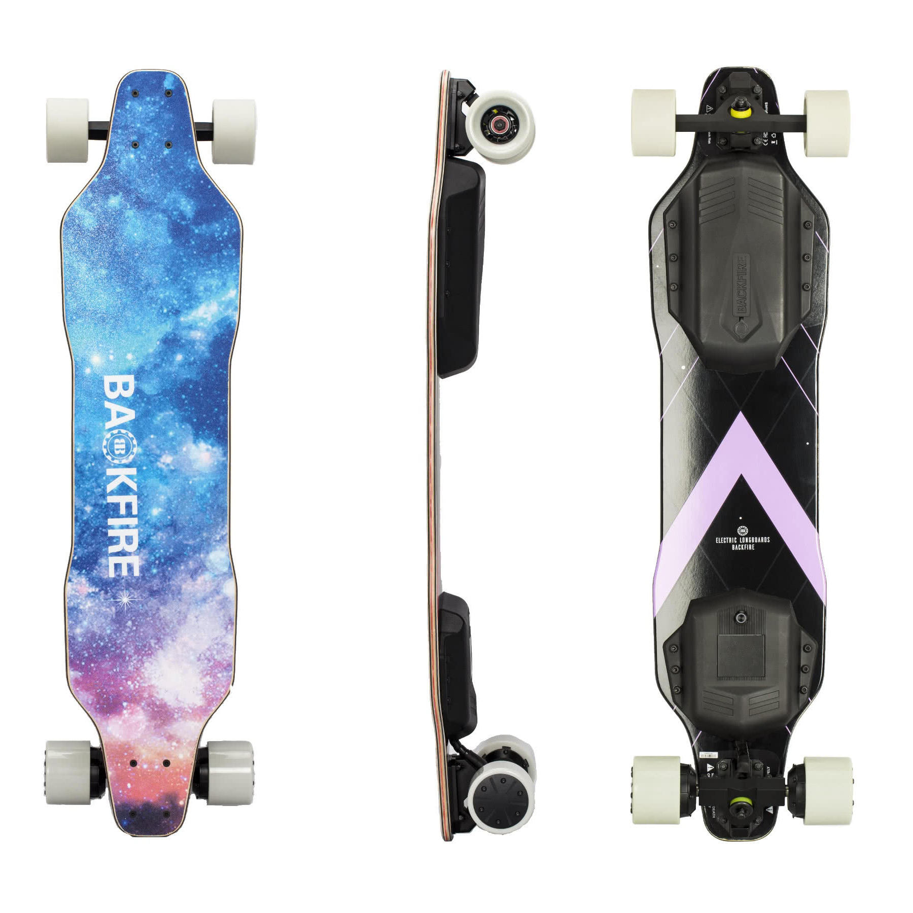 BACKFIRE G2S Electric Longboard Two 300W In-Hub Motors 36V Electric  Skateboard 23 mph Top Speed Replaceable 80mm Wheels 96mm Wheels Included