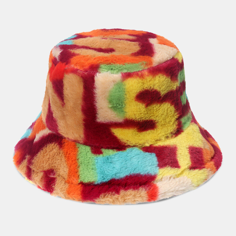 Women Faux Rabbit Fur Colored Letter Printed Bucket Hat Autumn Winter Outdoor All-match Plush Warm Hat