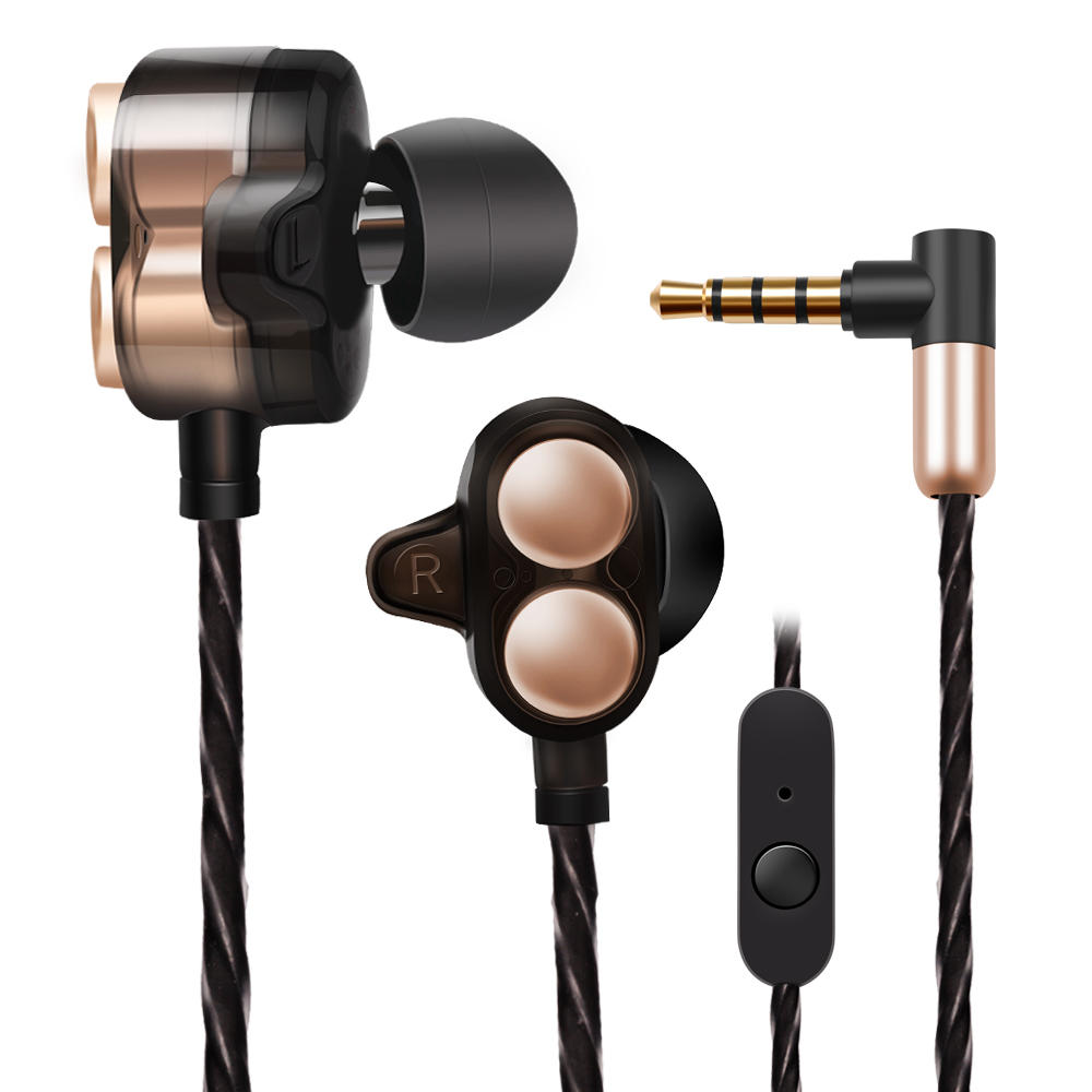 Universal HiFi 4 Drivers Earphone Dual Dynamic Drivers 3.5mm Wired Control In-ear Headphone with Mic