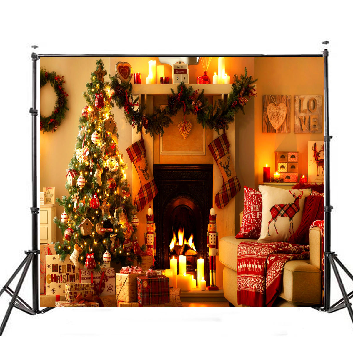 5x7ft Vinyl Warm Light Christmas Tree Fireplace Stocking Photography Background Backdrops Studio