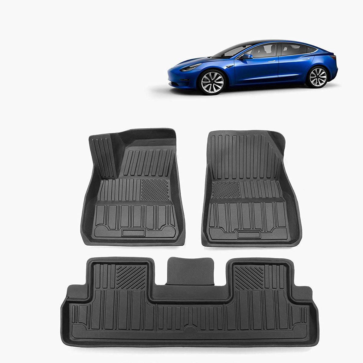 Siyah TPE Su Geçirmez Araba Tesla Modeli 3 Tüm Hava Uyar için Paspas