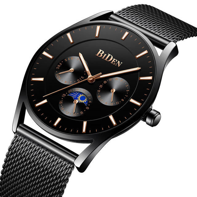 BIDEN 0122 Ultra Thin Dial Case Men Wrist Watch Business Style Clock Quartz Watches