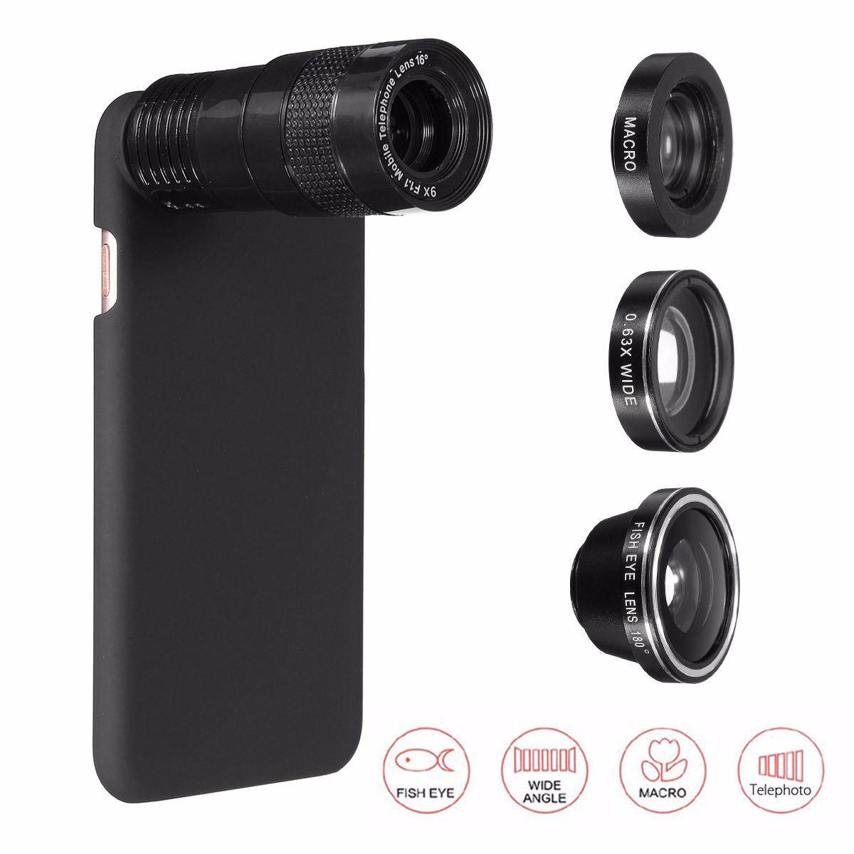 c69c0073451a9f 5-in-1 9x telephoto 0.63x wide angle macro fisheye lens + case for apple  iphone 7 plus Sale - Banggood.com