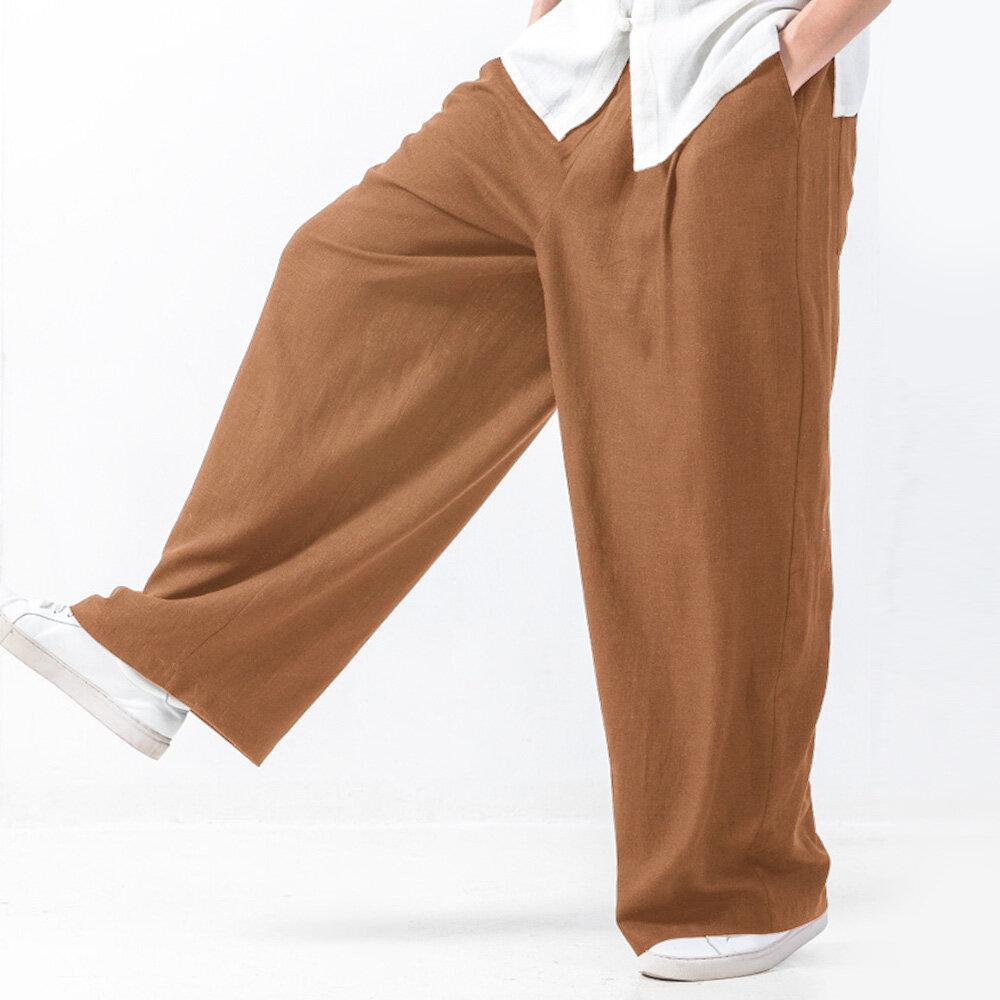 Mens Baggy סגנון כותנה מוצק צבע אלסטי המותניים מקרית רופף רחב רגל מכנסיים