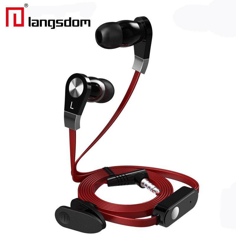 Langdom JM02 Fone de Ouvido Som Super Grave 3.5mm Intra-auricular com Microfone Controle Remoto para Iphone Samsung HTC