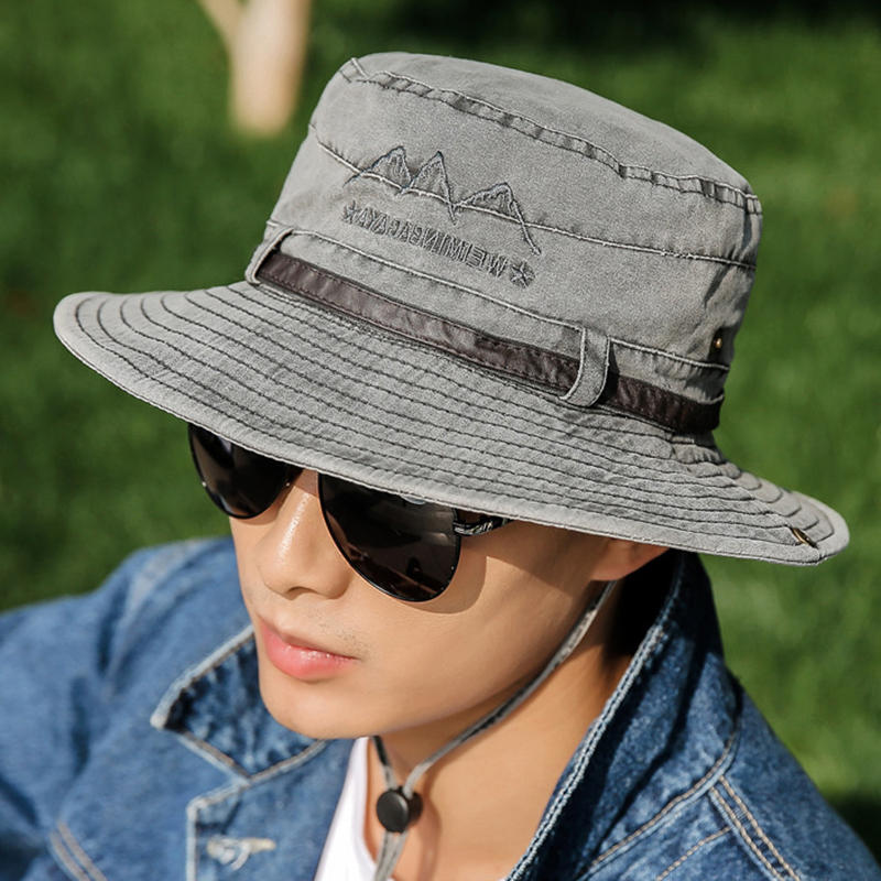 Men Women Summer Outdoor Embroidery Cotton Fishing Hat Sunshade Adjustable Visor Hat