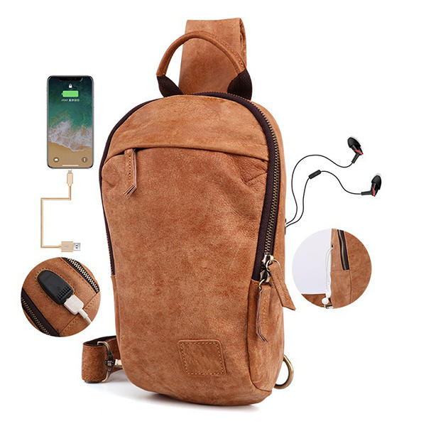 7f1ddf3f0f91 Men Genuine Leather Vintage Chest Bag USB Charging Interface Casual  Crossbody Bag