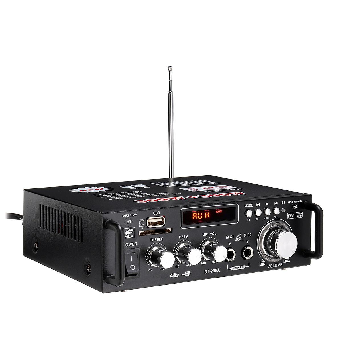 HIFI 220V 12V CH2.0 Amplificador de carro doméstico bluetooth Relação sinal-ruído 90BP com Controle Remoto