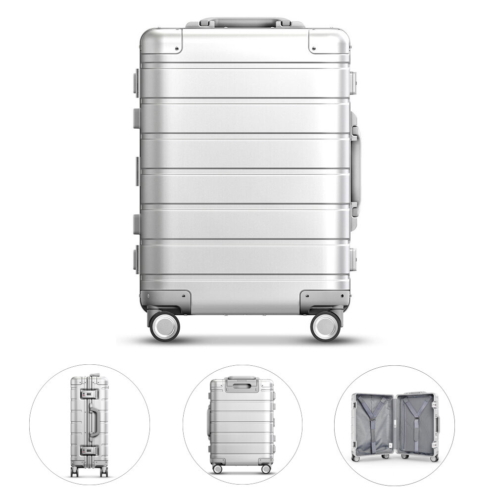 90FUN 20inch Travel Suitcase 31L Aluminum Alloy TSA Lock Spinner Wheel Carry On Luggage Case from Xiaomi Youpin