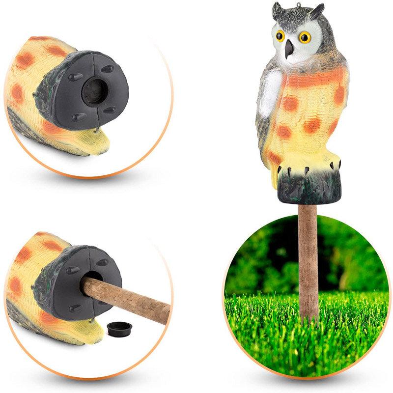 Realistic Owl Decoy Statue Elbow Owl Bird Pigeon Crow Scarer Scarecrow Simulation Garden Yard Protecter