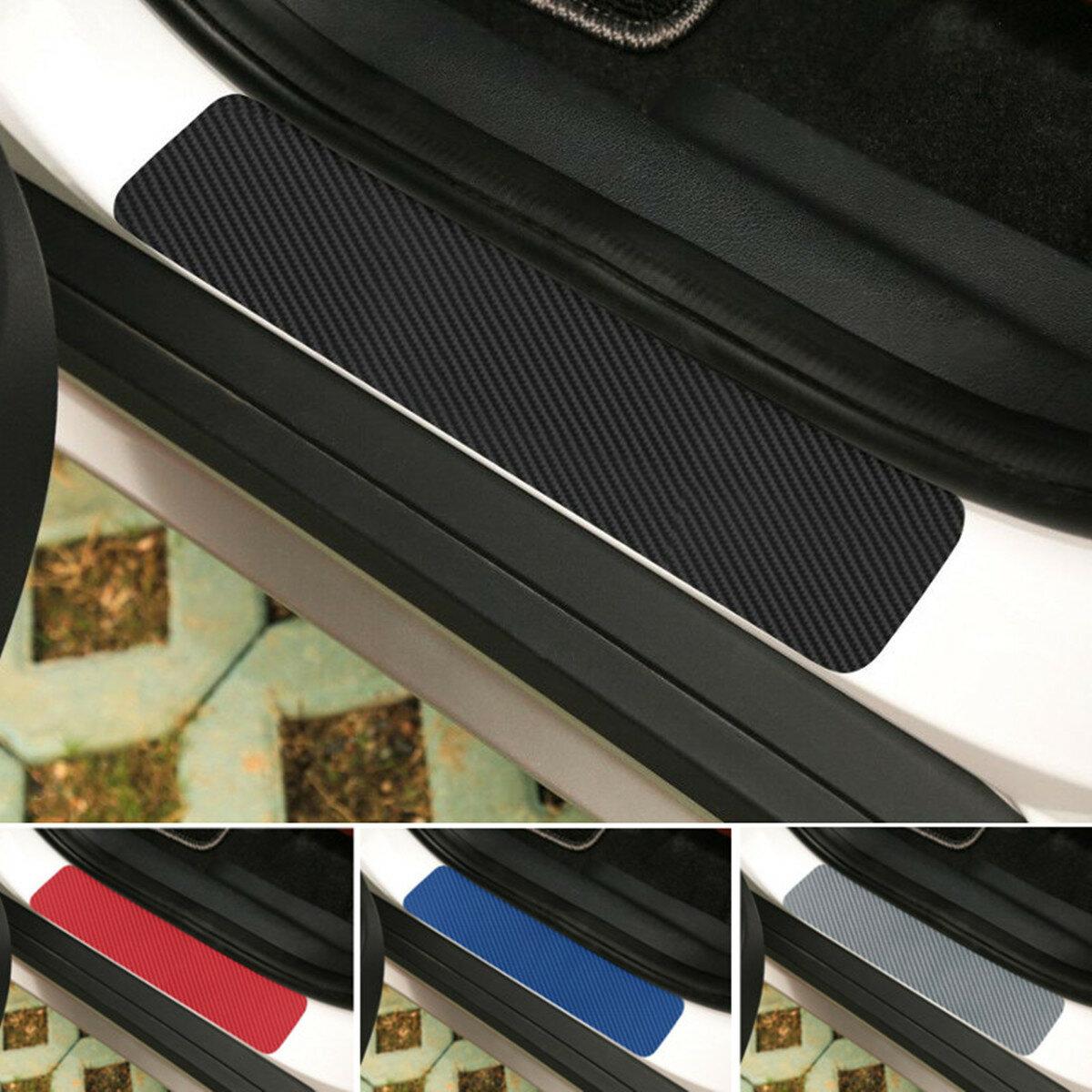 4PCS 3D Carbon Fiber Anti-scratch Waterproof Car Stickers Door Sill Decals Film for Pedal threshold