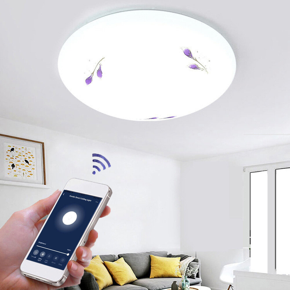 48W WW+CW Wifi Smart Ceiling Light Flower Lampshade Stepless Dimming APP Control Ceiling Lamp Fcmila Bedroom Works with