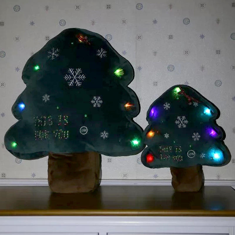 Creative Christmas LED Glowing Christmas Tree Pillow Plush Toys Children Gifts Home Party Decor