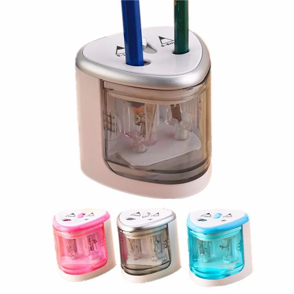 Automatic 2 Hole Penil Sharpener Electric Battery Operated Pencil Sharpener Stationery Home School Office Use