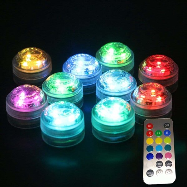 1X 10X Remote Control Submersible LED Candle Tea Light Waterproof RGB Table Lamp Decoration фото