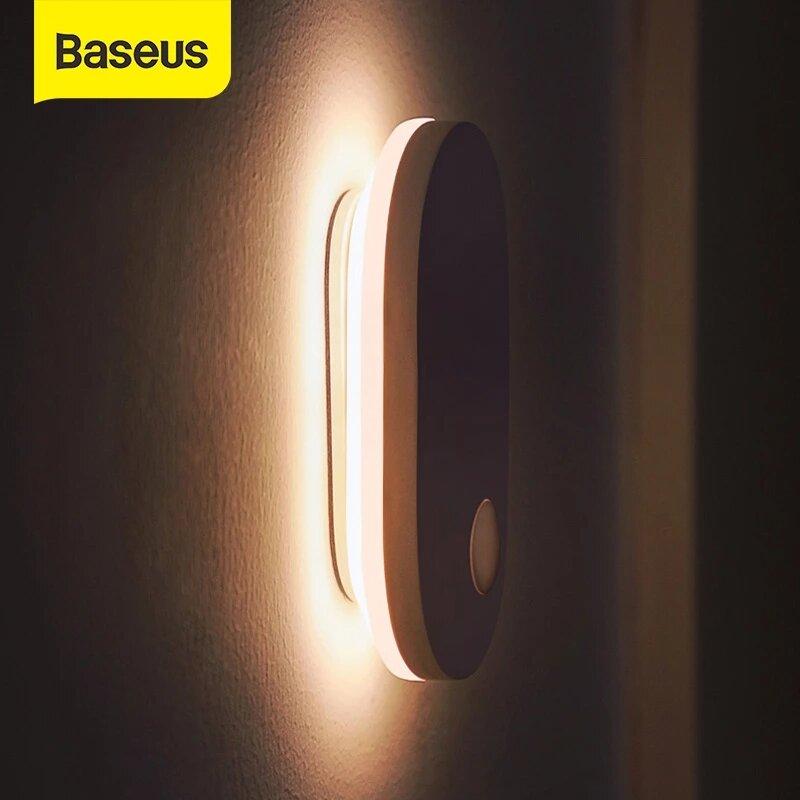 Baseus® PIR Motion Sensor Night Light Human Induction Backlight Magnetic LED Light Rechargeable Bedside Lamp Wall Lamp F