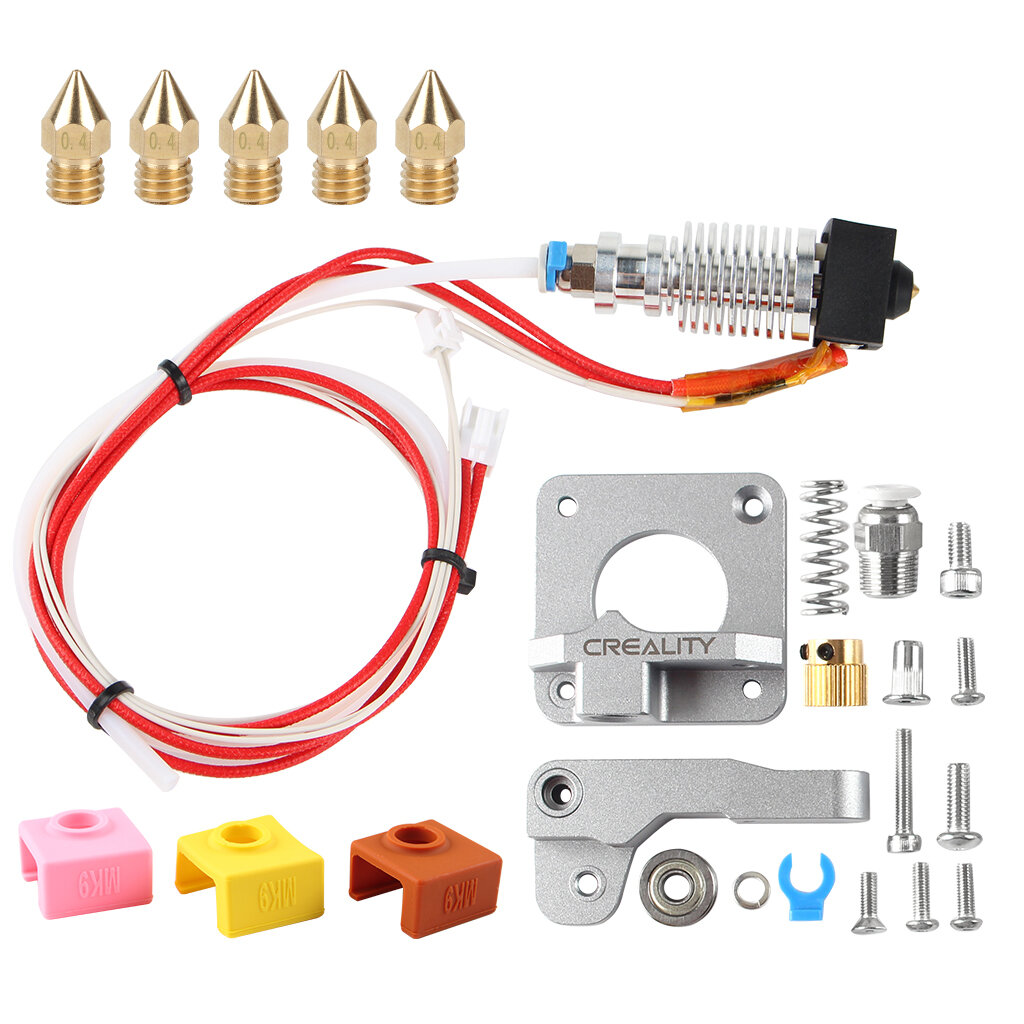 Original Gray Extruder Kit with CR10 V2 Hotend + 5Pcs MK9 1.75/0.4mm Nozzle + 3Pcs Silicone Sase for Creality 3D 3D Prin