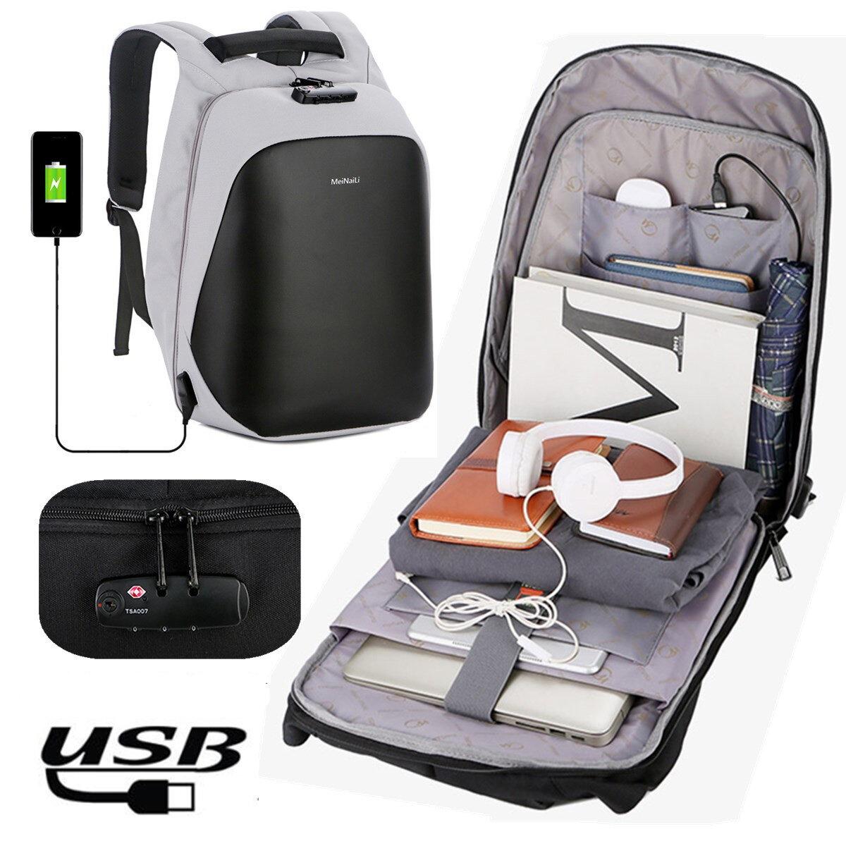Anti Theft Code Lock Laptop Ryggsekk Reise Bag Med USB Ladestasjon For Laptop Notebook Tablet PC Under 15,6 Tommer