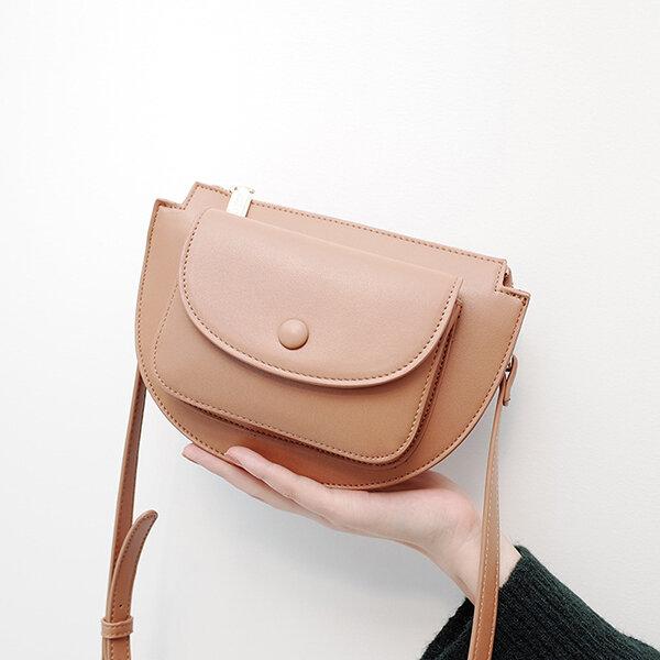 Women PU Leather Semi-circle Saddle Bag Solid Crossbody Bag Leisure Shoulder Bag