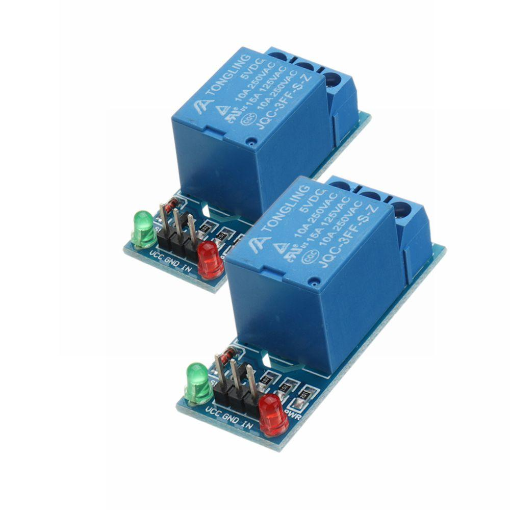 2Pcs 5V Low Level Trigger One 1 Channel Relay Module Interface Board Shield  DC AC 220V for Arduino PIC AVR DSP ARM MCU