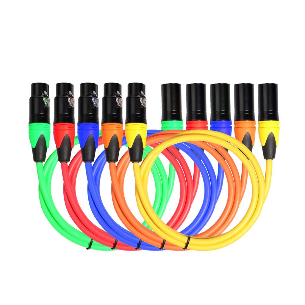 REXLIS Five-Color Suit Canon Audio Cable / Six-Color Suit Canon Audio Cable 1m 1.8m for Microphone Mixer Amplifier Stage Light