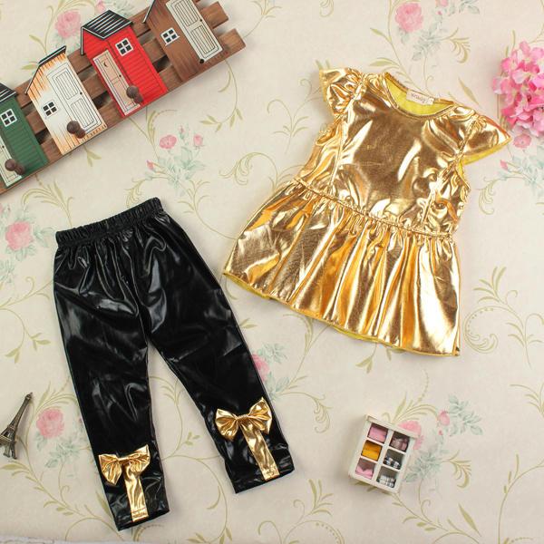 फैशन प्यारा बेबी गर्ल्स पार्टी टॉप + पैंट सूट