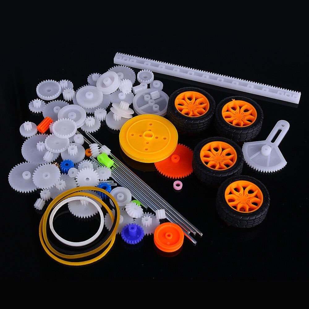 78 piezas de plástico motor Gear Kit DIY conjunto de accesorios de engranajes con varios engranajes y ejes Cinturón autobús