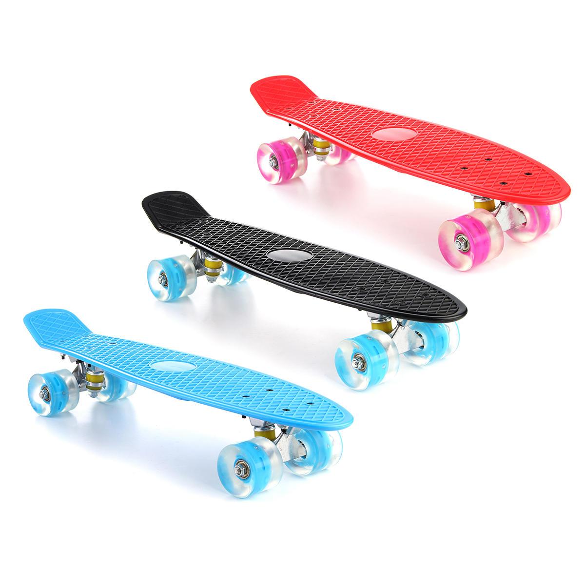 ff8fb47e13 22'' LED Light Up Fish Skateboard 4 PU Wheel Single Warping Board Teenagers  Kids Skateboard