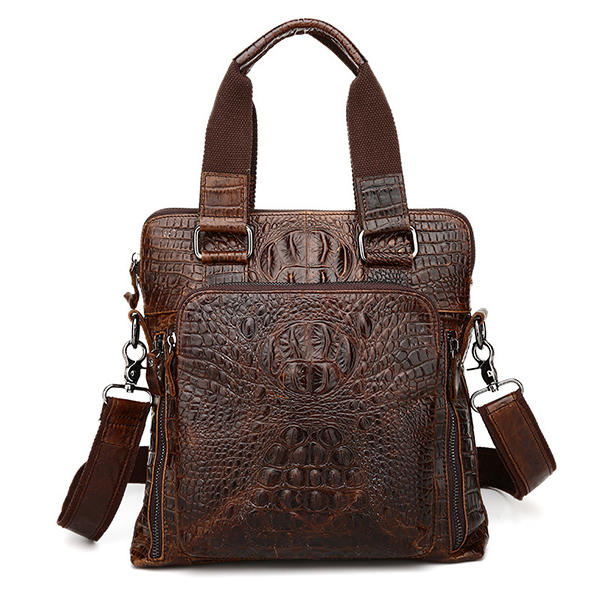 Men Genuine Leather Alligator Business Bag Handbag Laptop Bag Briefcase Crossbody Bag