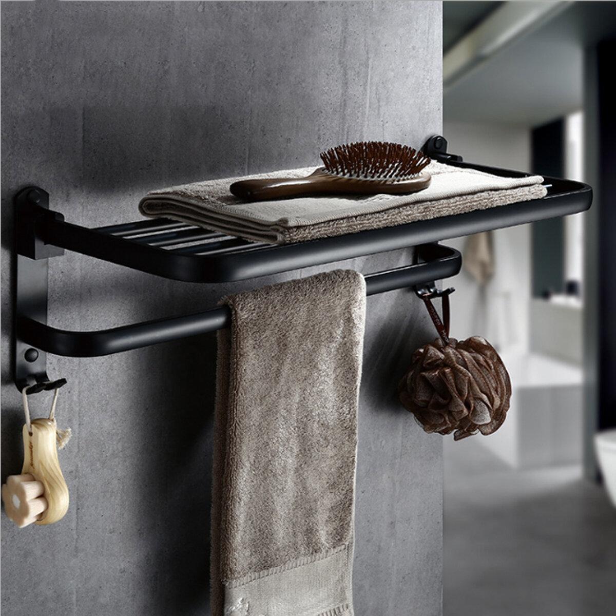 c8f253ec233fad Składany stojak na ręczniki czarny Ręcznik na ręczniki składany podwójny  ręcznik Półka na ręczniki wieszak na