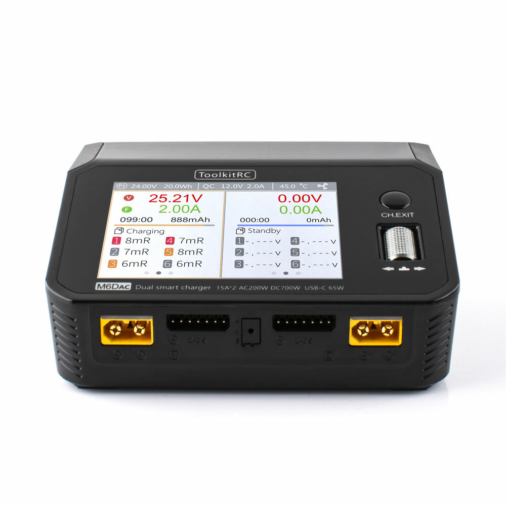 ToolkitRC M6DAC AC 200W DC 700W 15A*2 USB-C 65W QC3.0 Dual Channel Smart Lipo Battery Charger Discharger