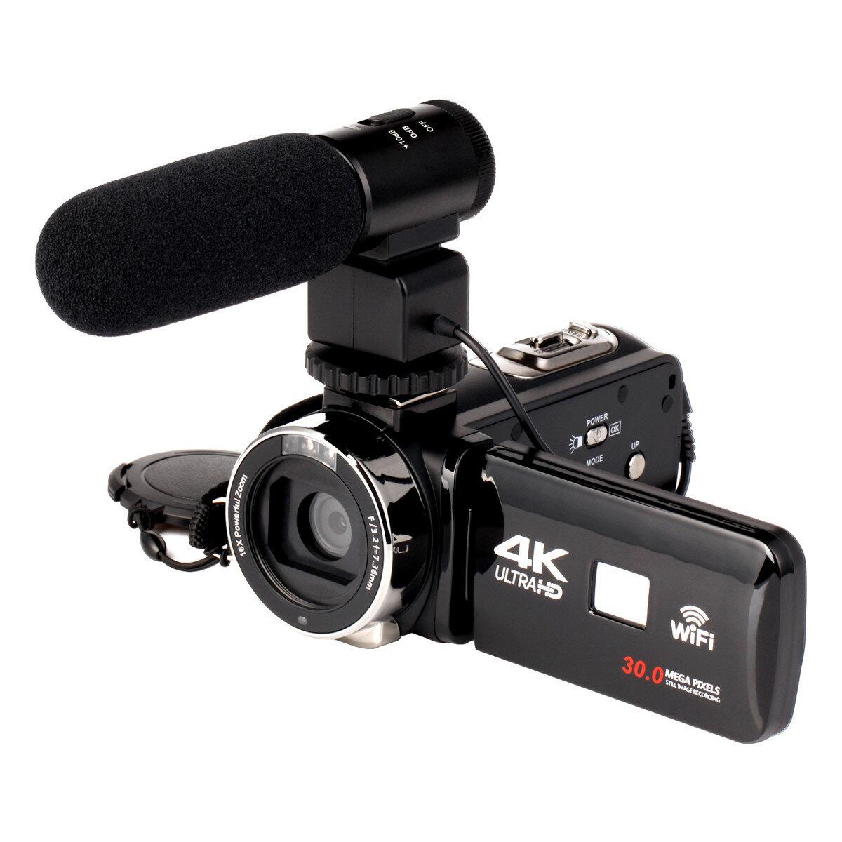 4K WiFi Ultra HD 1080P 16X ZOOM Video digitale fotografica Videocamera DV con lente e Microfono