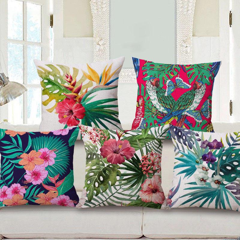 Decorative Throw Pillow Case Fashion Cotton Linen Tropical Plant Flowers Grass Cushion Cover Sofa Home Decor