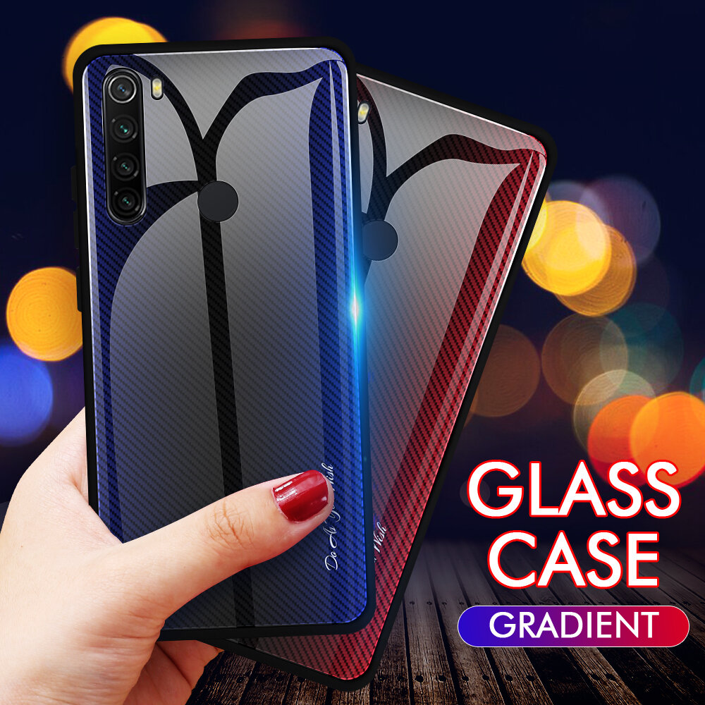 Bakeey Carbon Fiber Gradient Color Tempered Glass Protective Case for Xiaomi Redmi Note 8